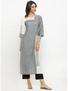 Varanga Grey & White Solid Kurta With Black Solid Pants