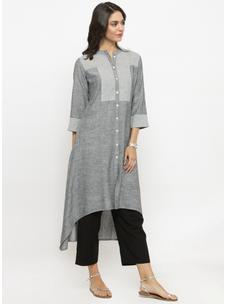 Varanga Grey Solid Kurta With Black Solid Pants