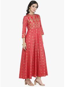 Varanga Pink Gold Print Dress
