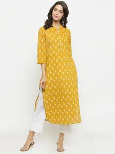 Varanga Mustard Printed Kurta