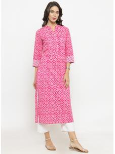 Varanga Pink Bandhani Print Kurta With White Solid Pants