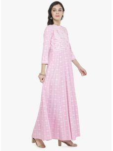 Varanga Light Pink Gold Print Dress