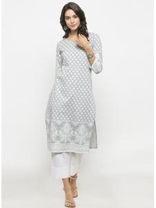 Varanga Grey Printed Kurta With White Solid Pants