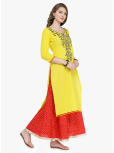 Varanga Yellow Pure Cotton Embroidery Kurta With Skirt