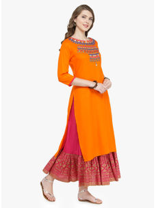 Varanga Orange Pure Cotton Embroidery Kurta With Skirt