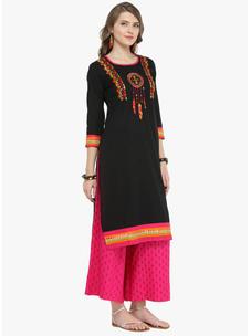 Varanga Black Pure Cotton Embroidery Kurta