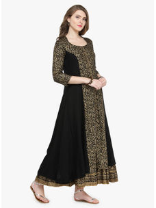 Varanga Black viscose Gold Print Kurta With Skirt