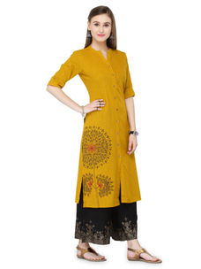 Varanga Mustard Cotton Embroidery Kurta