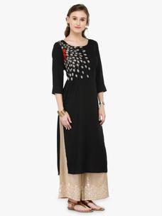 Varanga Black Viscose Rayon Zari Embroidery Kurta