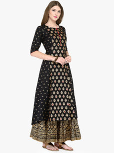Varanga Black Viscose Rayon Gold Print Kurta With Skirt