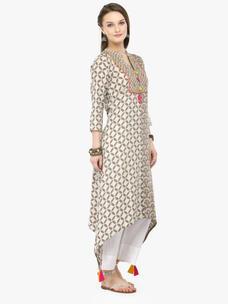 Varanga Grey Viscose Rayon Embroidery Kurta With Pants