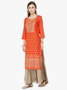 Varanga Orange Viscose Rayon Gold Print Kurta