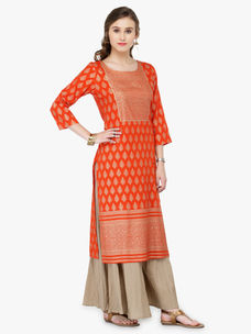 Varanga Orange Viscose Rayon Gold Print Kurta With Palazzo
