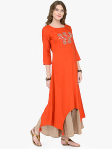 Varanga Orange Viscose Rayon Embroidery Kurta
