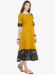 Varanga Yellow Cotton  Solid Dresses