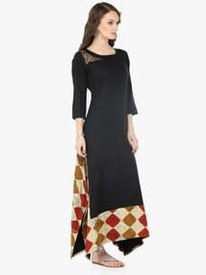 Varanga Black Cotton Solid Dresses
