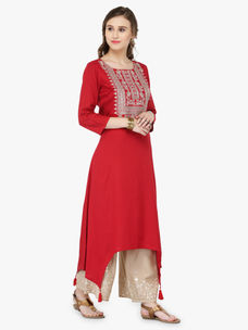 Varanga Red Viscose Rayon Zari Embroidery Kurta