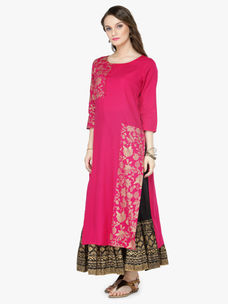 Varanga Pink Viscose Rayon Gold Print Kurta With Skirt