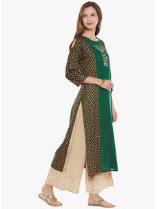 Varanga Green Cotton Blend Embroidery Kurta