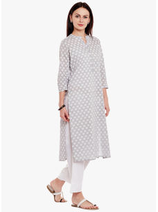 Varanga Grey Pure Cotton Printed Kurta With Pants