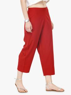 Varanga Red Pure Cotton Printed Pants