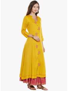 Varanga Mustard viscose Embroidery Kurta With Skirt