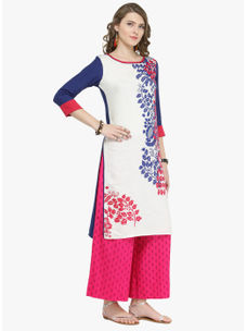 Varanga Blue Cotton Blend Printed Kurta