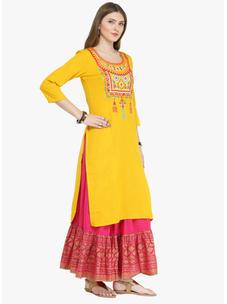 Varanga Mustard Cotton Blend Embroidery Kurta