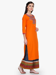 Varanga Orange Round Neck Straight Kurta with Palazzo