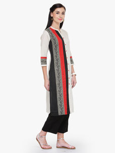 Varanga White Multicolor Flex Rayon 3/4 Sleeves Straight Kurta