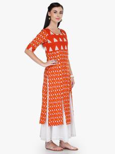 Varanga Orange Multicolor Printed Boat Neck 3/4 Sleeves Straight Kurta