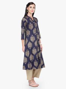 Varanga Blue and Gold Printed 3/4 Sleeves Straight Kurta With Pant