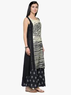 Varanga Black and Beige Printed Sleeveless A Line Kurta