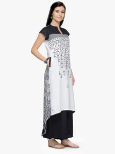 Varanga Black and White Printed Cap Sleeves A Line Kurta
