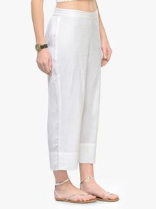 Varanga White Solid Flex Rayon Straight Palazzo