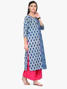 Varanga Indigo Printed Round Neck 3/4 Sleeves Straight Kurta
