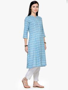 Varanga Blue and White Printed A Line Kurta With Pant