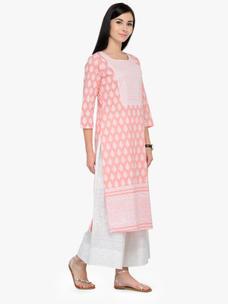Varanga Pink Printed Round Neck 3/4 Sleeves Straight Kurta