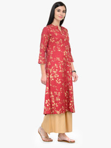 Varanga Maroon and Gold Printed 3/4 Sleeves A line Kurta