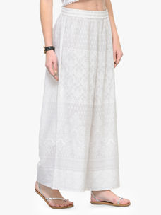 Varanga White Solid Cotton Straight Palazzo