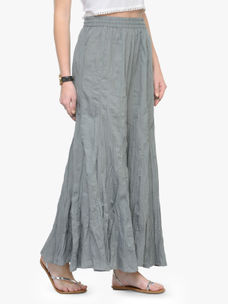 Varanga Grey Solid Cotton Flared Palazzo