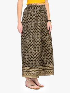 Varanga Black and Gold Printed Cotton Cambric Palazzo