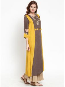 Varanga Embroiderd Brown Color Kurta with Beige Flared Palazzo