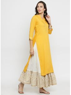 Varanga Yellow Solid Kurta with Ivory Gold Skirt