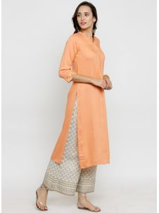 Varanga Peach Gota Work Kurta with Ivory Gold Palazzo