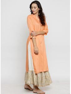 Varanga Peach Gota Work Kurta with Ivory Gold Skirt