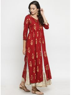 Varanga Maroon Gold Print Kurta with Ivory Gold Wrinkled Skirt