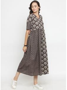 Varanga Charcoal Printed Dress