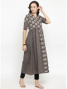 Varanga Charcoal Printed Kurta with Black Pencil Pants