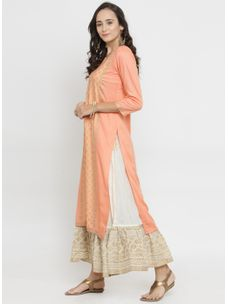 Varanga Peach Gold Print Kurta with Ivory Gold Skirt